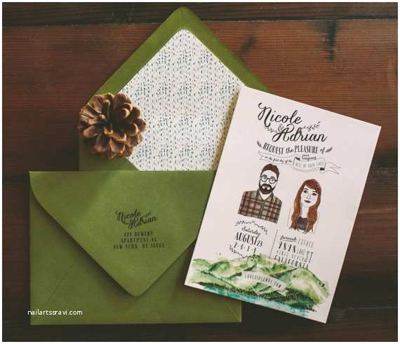 Lake Wedding Invitations Lake Tahoe Wedding Invitation Custom Couple Illustration and