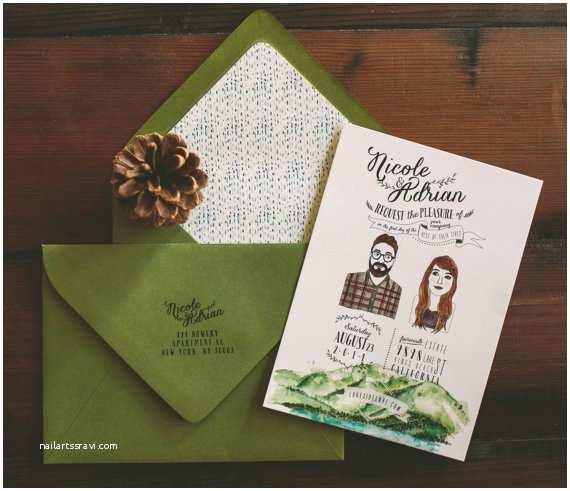 Lake Wedding Invitations Lake Tahoe Wedding Invitation Custom Couple Illustration