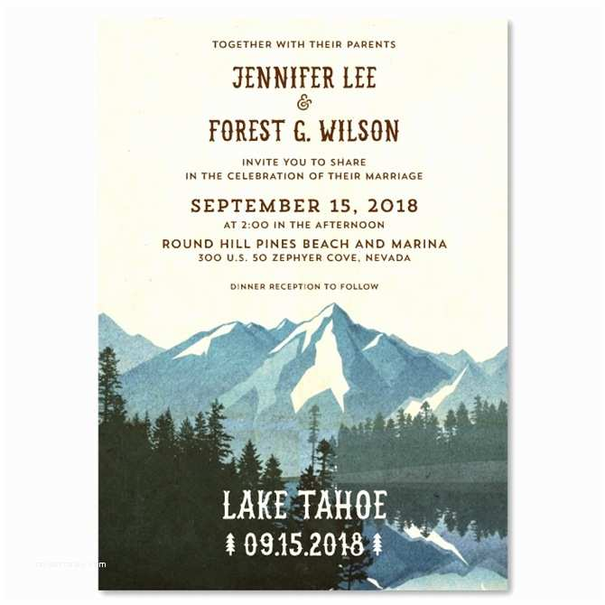 Lake Wedding Invitations Lake Tahoe Wedding Invitations On Vintage Recycled