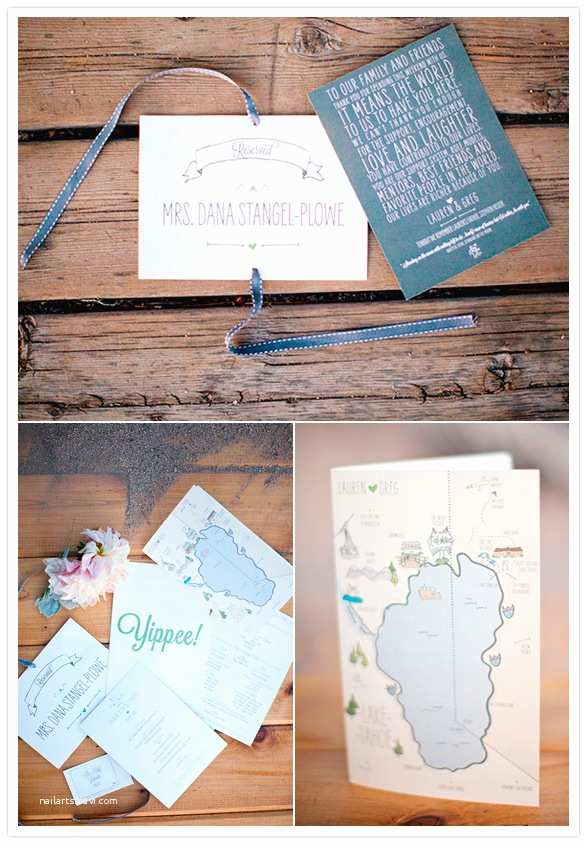 Lake Wedding Invitations Lake Tahoe Wedding Lauren Greg Real Weddings