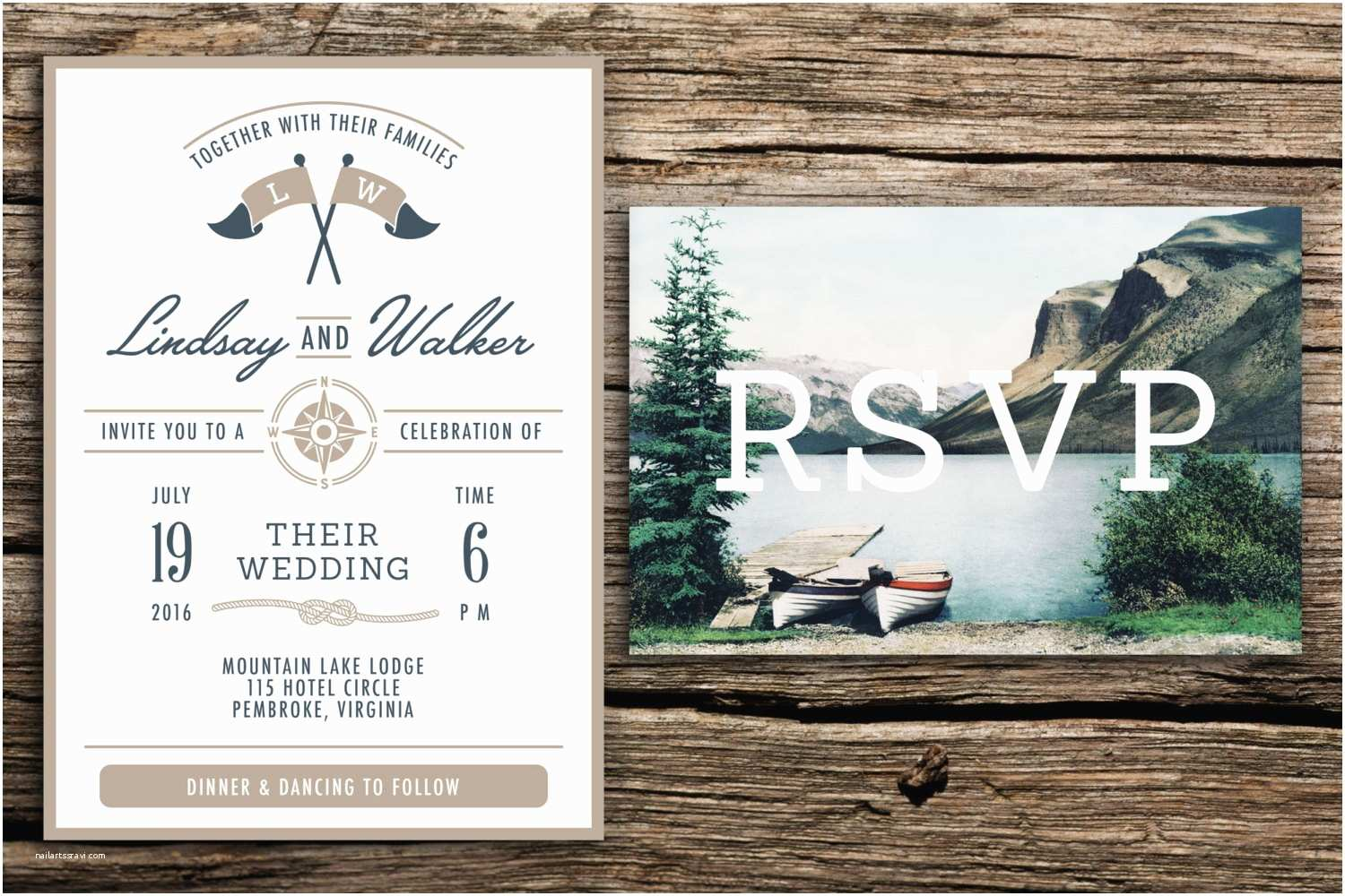 Lake Wedding Invitations Lake Wedding Invitation & Vintage Postcard Rsvp by