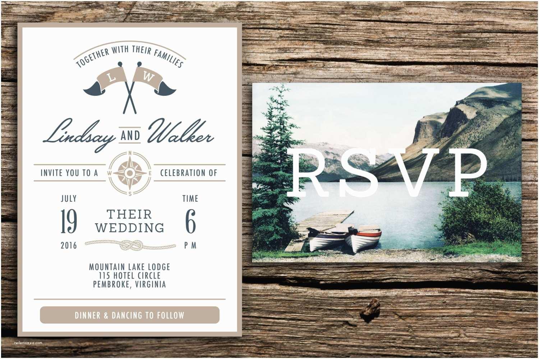 Lake Wedding Invitations Lake Wedding Invitation & Vintage Postcard Rsvp