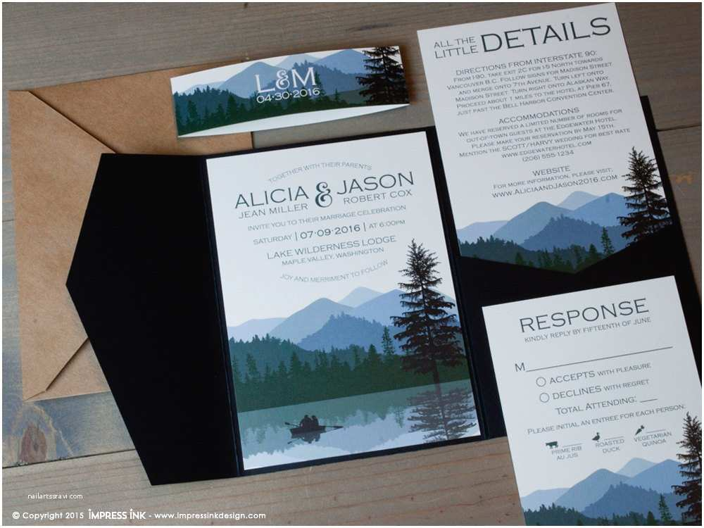 Lake Wedding Invitations Lake Wilderness Wedding Invitation Sample Flat or by