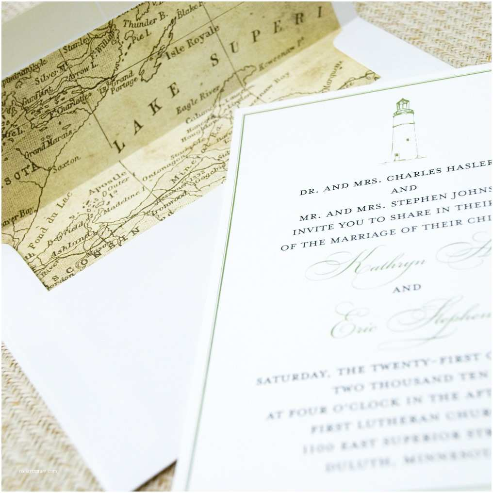 Lake Wedding Invitations Lighthouse and Vintage Map Wedding Invitation Lake Superior