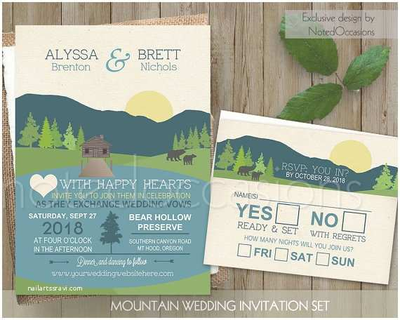 Lake Wedding Invitations Mountain Wedding Invitation Mountain Wedding by Notedoccasions