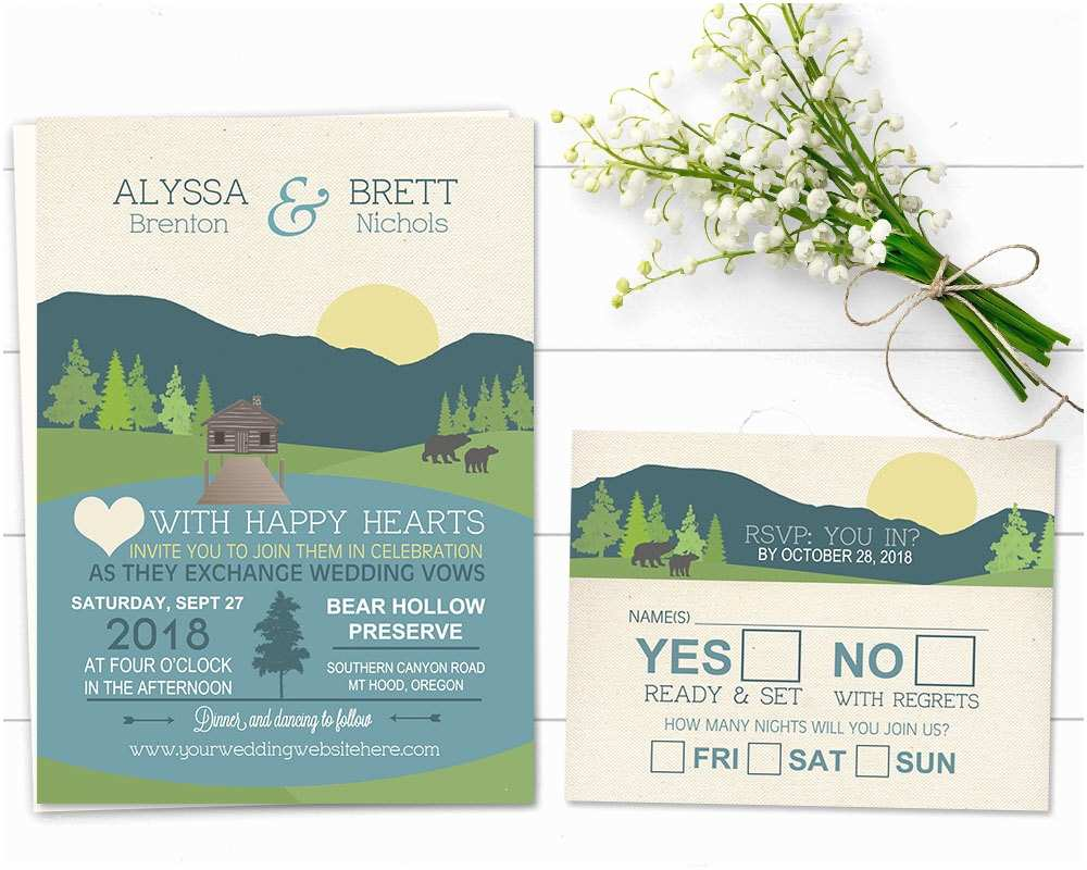 Lake Wedding Invitations Mountain Wedding Invitation Rustic Mountain Wedding Lake
