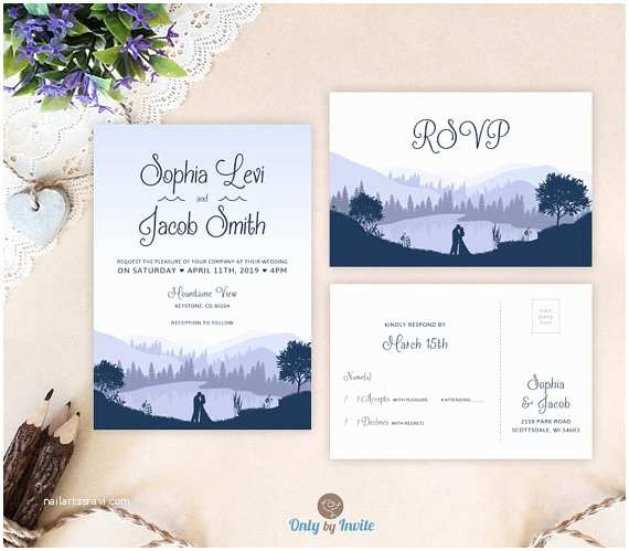 Lake Wedding Invitations Mountain Wedding Invitation Set Printed Printed Wedding