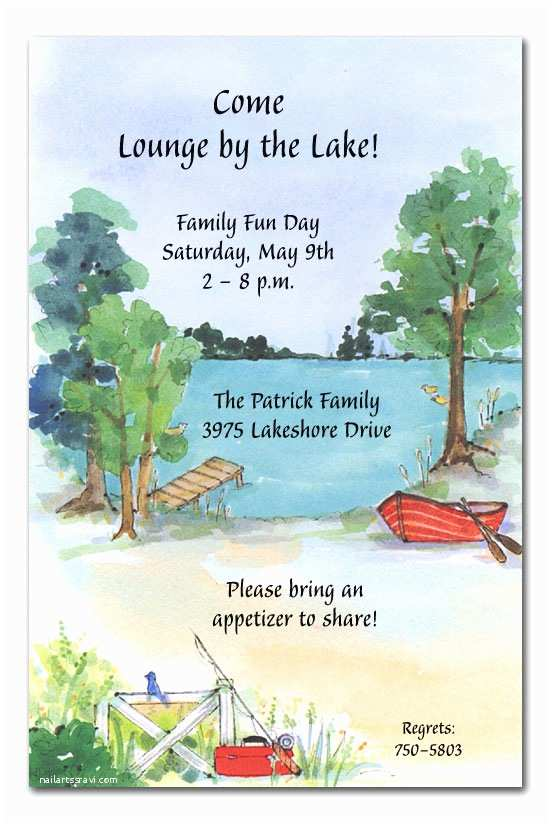 Lake Wedding Invitations Picnic by the Lake Party Invitations by Invitation