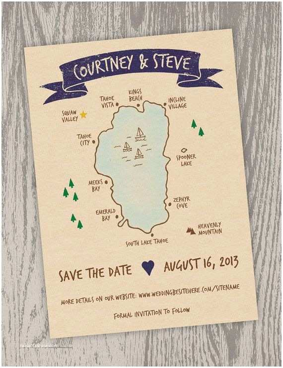 Lake Wedding Invitations Printable Digital File Lake Tahoe Map Save the Date Card