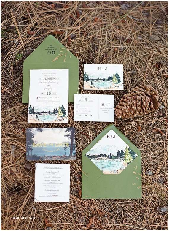 Lake Wedding Invitations Rustic and Woodland Watercolor Wedding Invitation Lake Tahoe