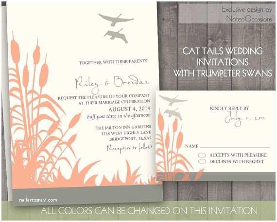 Lake Wedding Invitations Rustic Wedding Invitation Set