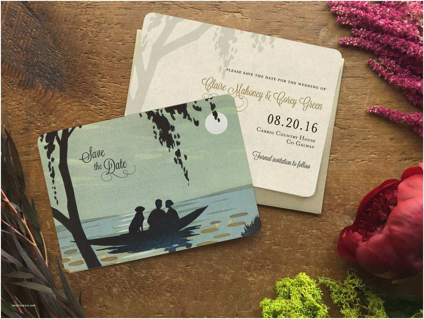 Lake Wedding Invitations Save the Date Postcard Beach Wedding Invitation Lake Wedding