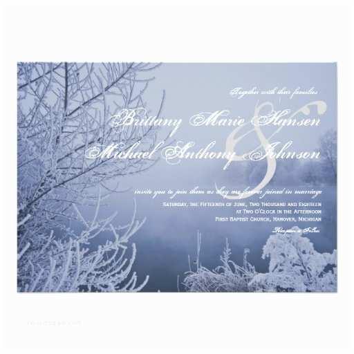 "Lake Wedding Invitations Snow Ice Lake Scene Winter Wedding Invitations 4 5"" X 6"