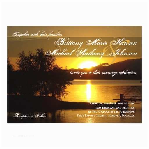 Lake Wedding Invitations Sunset Silhouette Tree Lake Wedding Invitations