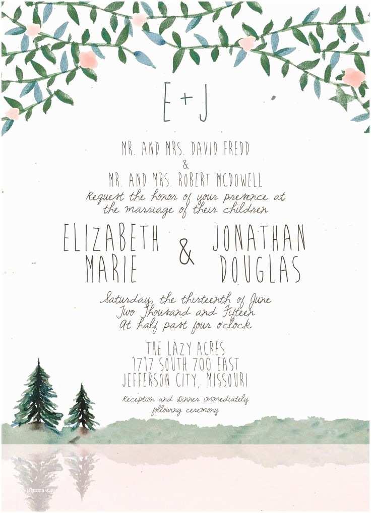 Lake Wedding Invitations Wedding Mountain Lake Clipart