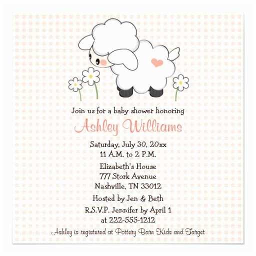 Lamb Baby Shower Invitations Baby Lamb Baby Shower Invitations Pink Gingham