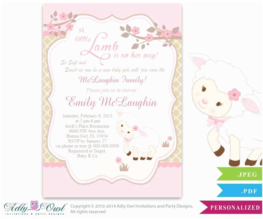 Lamb Baby Shower Invitations Little Lamb Sheep Girl Shower Baby Shower Party Ideas