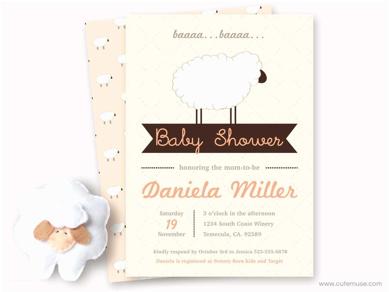 Lamb Baby Shower Invitations Peach Little Lamb Baby Shower Invitations Printable Sheep