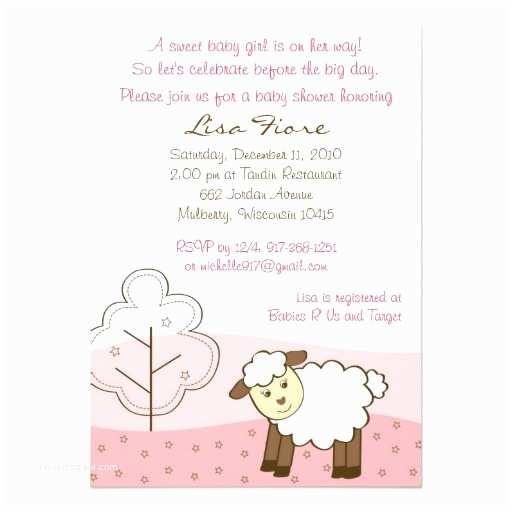 Lamb Baby Shower Invitations Pink Little Lamb Baby Shower Invitations