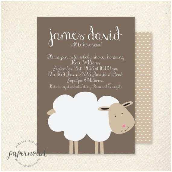 Lamb Baby Shower Invitations Sheep Baby Shower Invitation Baby Shower Invitaiton