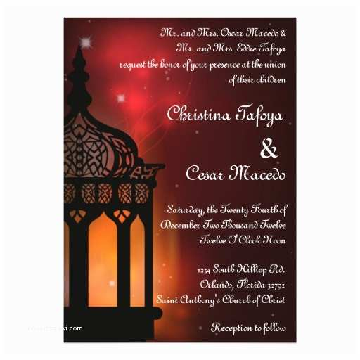 Lantern Wedding Invitations 5x7 Wedding Invitation Moroccan Lantern Indian