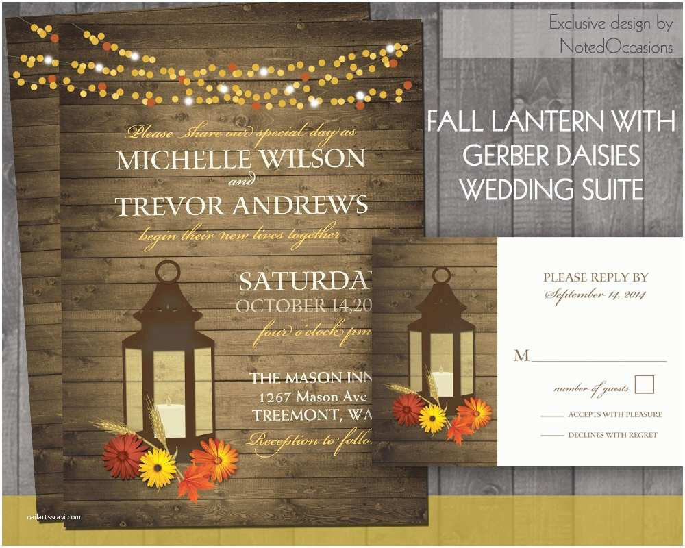 Lantern Wedding Invitations Fall Wedding Invitation Rustic Lantern Country Wedding