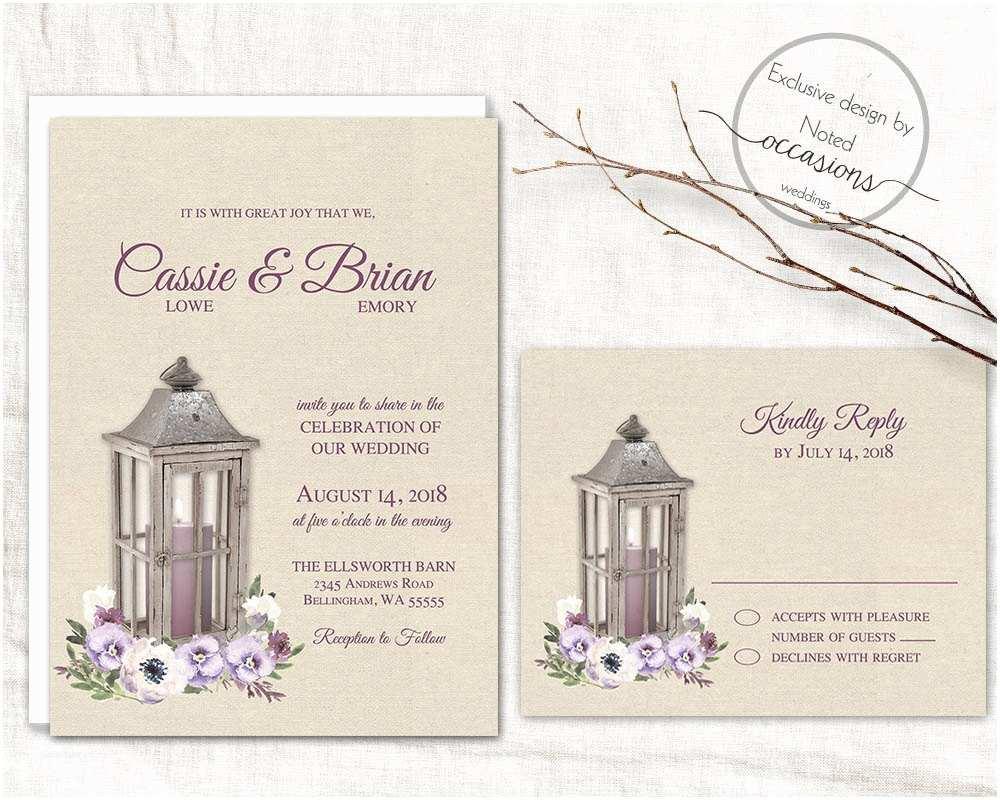 Lantern Wedding Invitations Lantern Wedding Invitation Set Printable Rustic Wedding