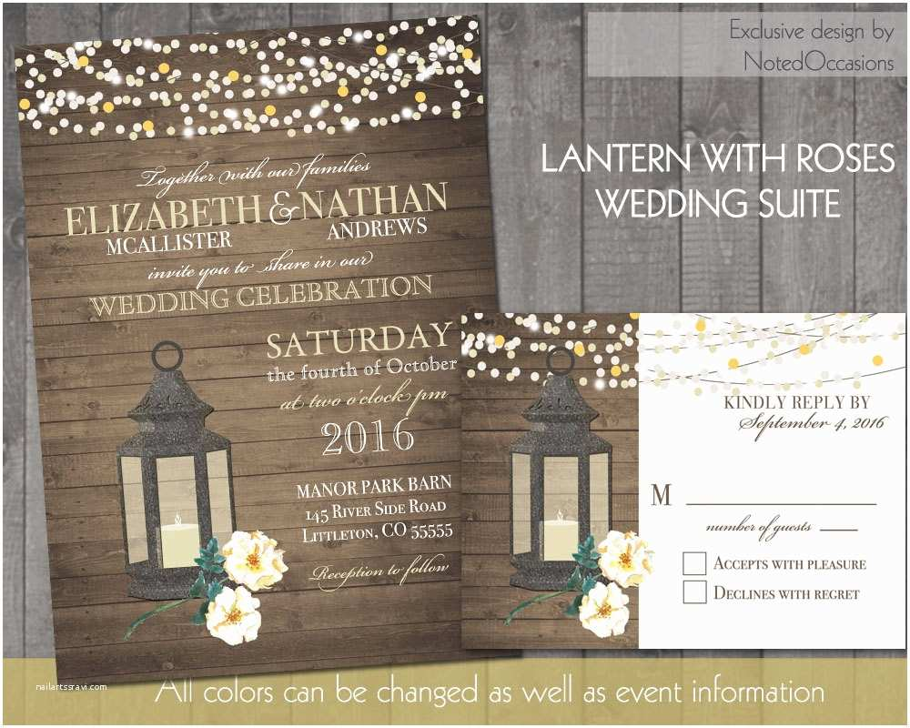 Lantern Wedding Invitations Lantern Wedding Invitations Rustic Fall or by Notedoccasions
