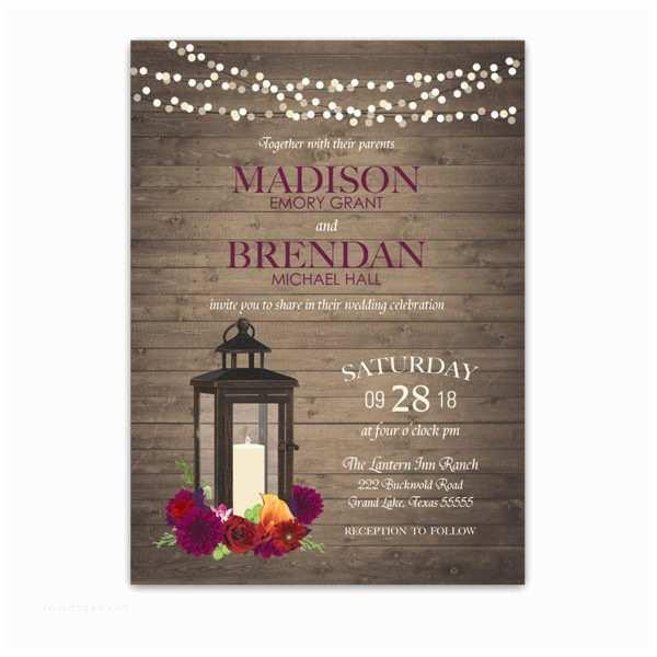 Lantern Wedding Invitations Lantern Wedding Invitations Rustic Fall Plum Florals