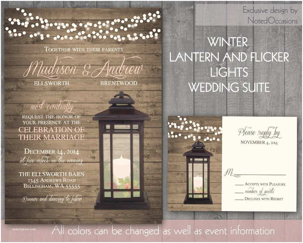 Lantern Wedding Invitations Lantern Wedding Invitations Rustic Winter by Notedoccasions