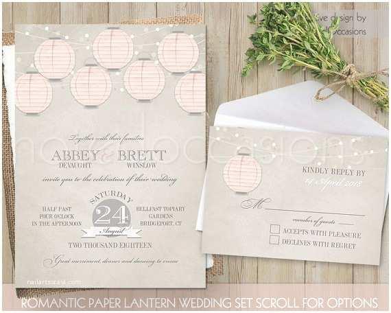 Lantern Wedding Invitations Paper Lantern Wedding Invitation Set with Rsvp by
