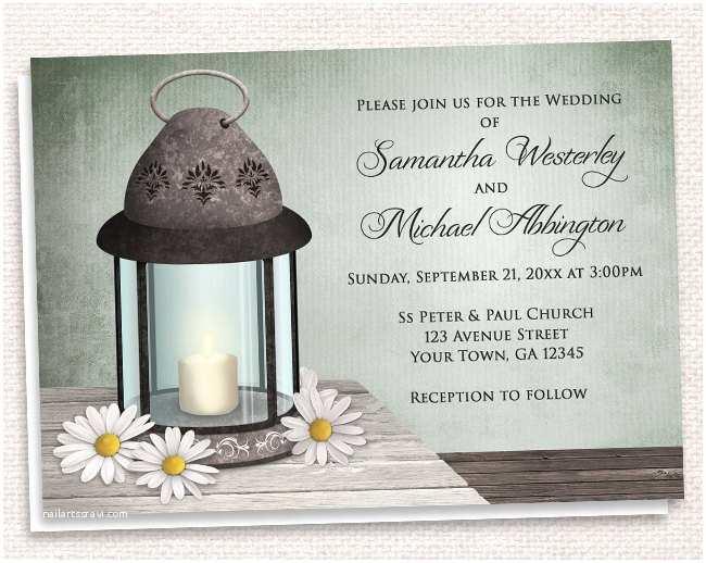 Lantern Wedding Invitations Rustic Lantern Daisy Wedding Invitations by
