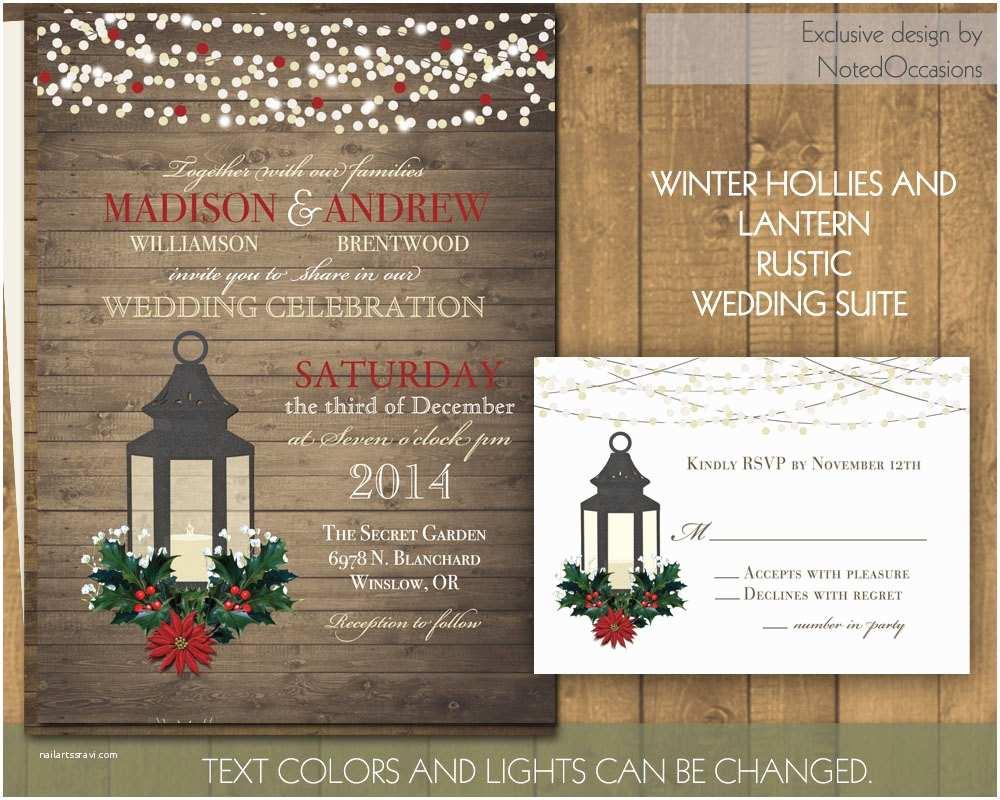 Lantern Wedding Invitations Rustic Winter Wedding Invitation Set Printable by