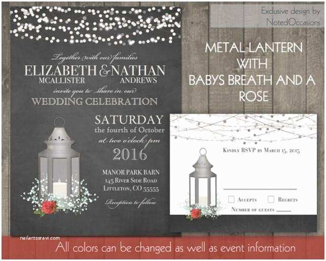 Lantern Wedding Invitations Silver Lantern Wedding Invitations Set Rustic Rose Wedding
