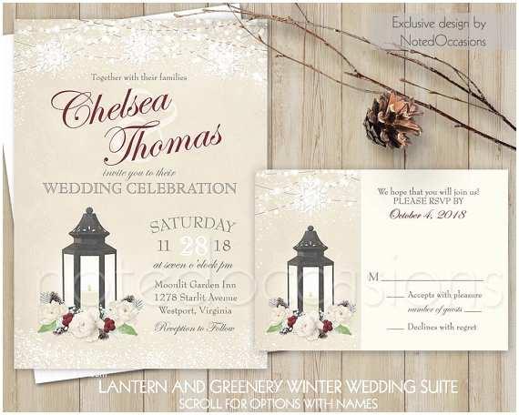 Lantern Wedding Invitations Winter Wedding Invitations Printable Rustic Lantern Greenery