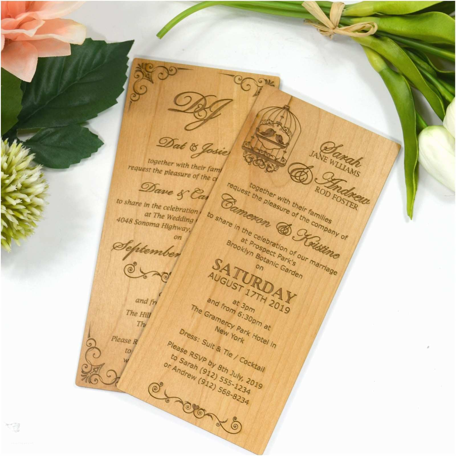 Large Wedding Invitations Engraved Wooden Invitations Personalized Favours