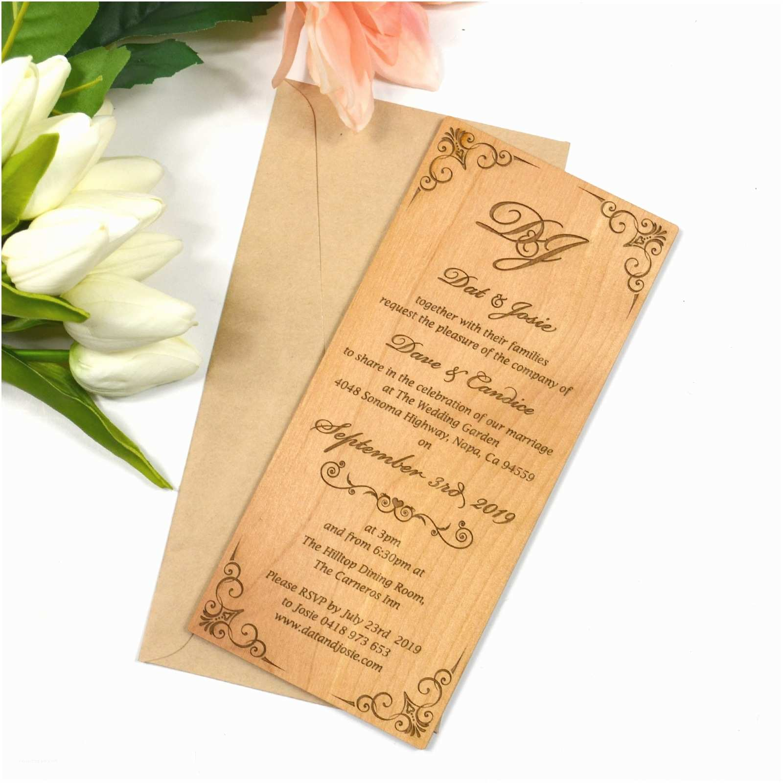 engraved wooden wedding invitations large