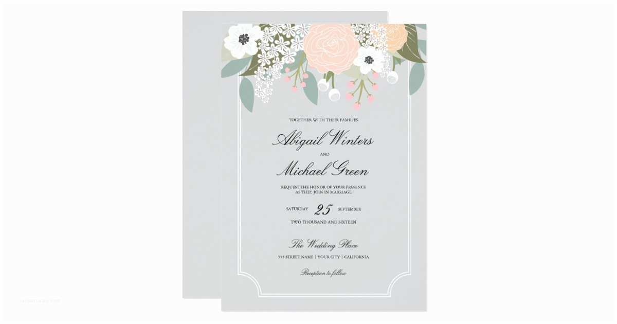 Large Wedding Invitations Floral Wedding Invitation