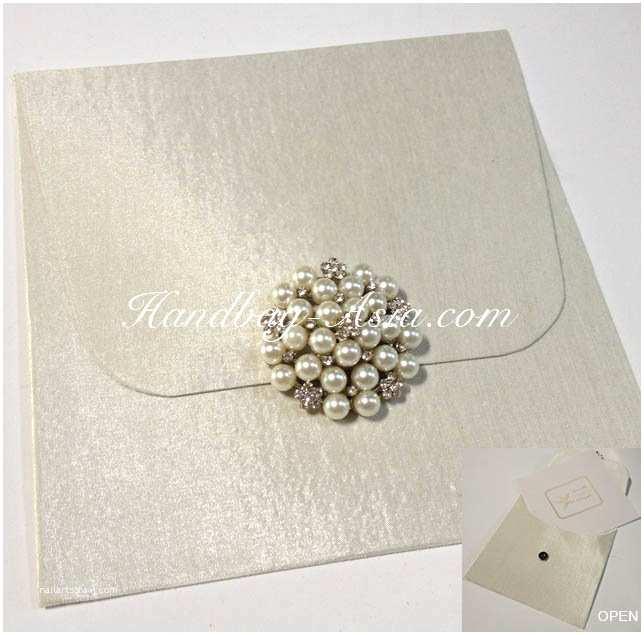 Large Wedding Invitations Ivory Wedding Invitation Envelope with Pearl Brooch