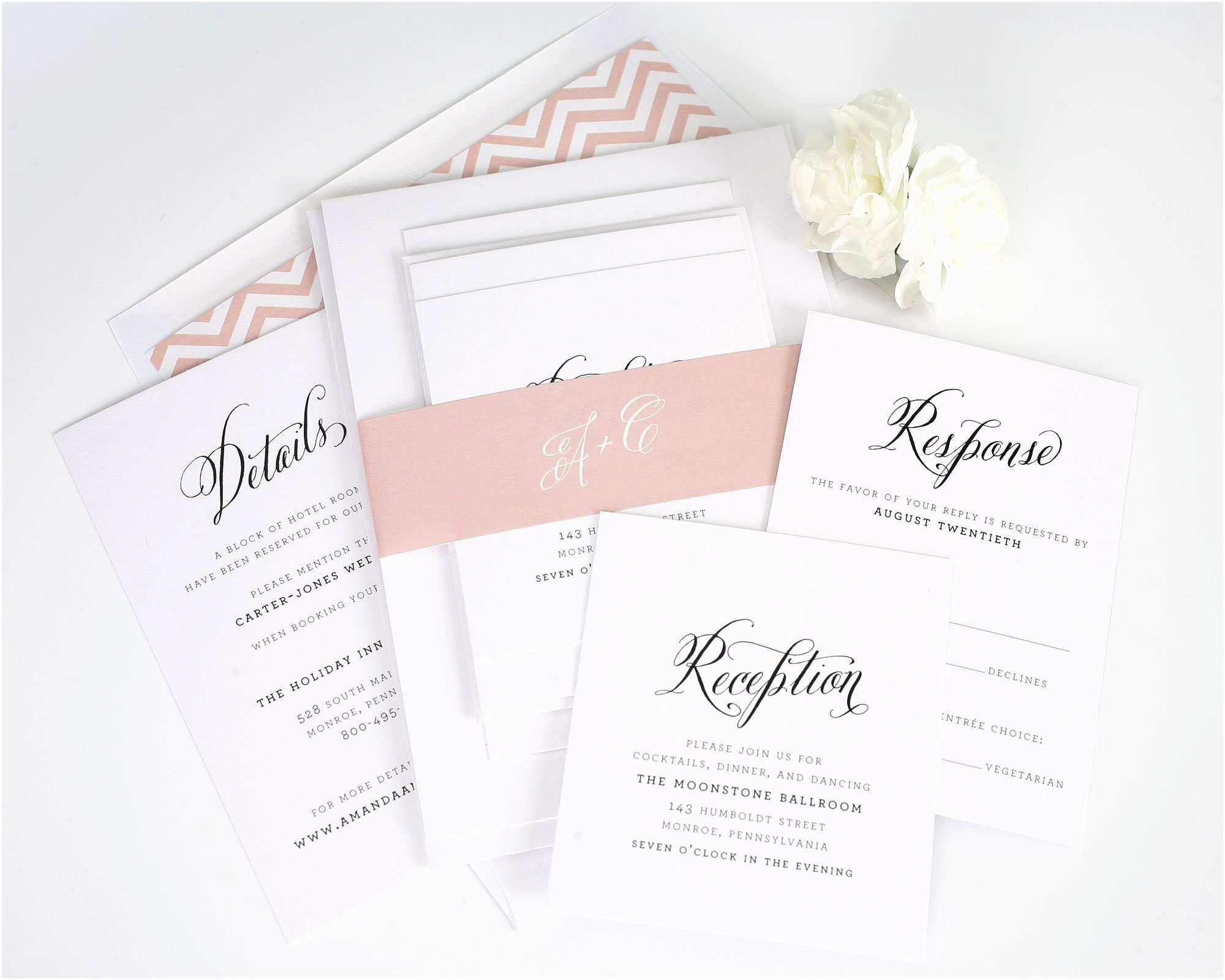Large Wedding Invitations Rustic Wedding Invitations with Blush Chevron Accents