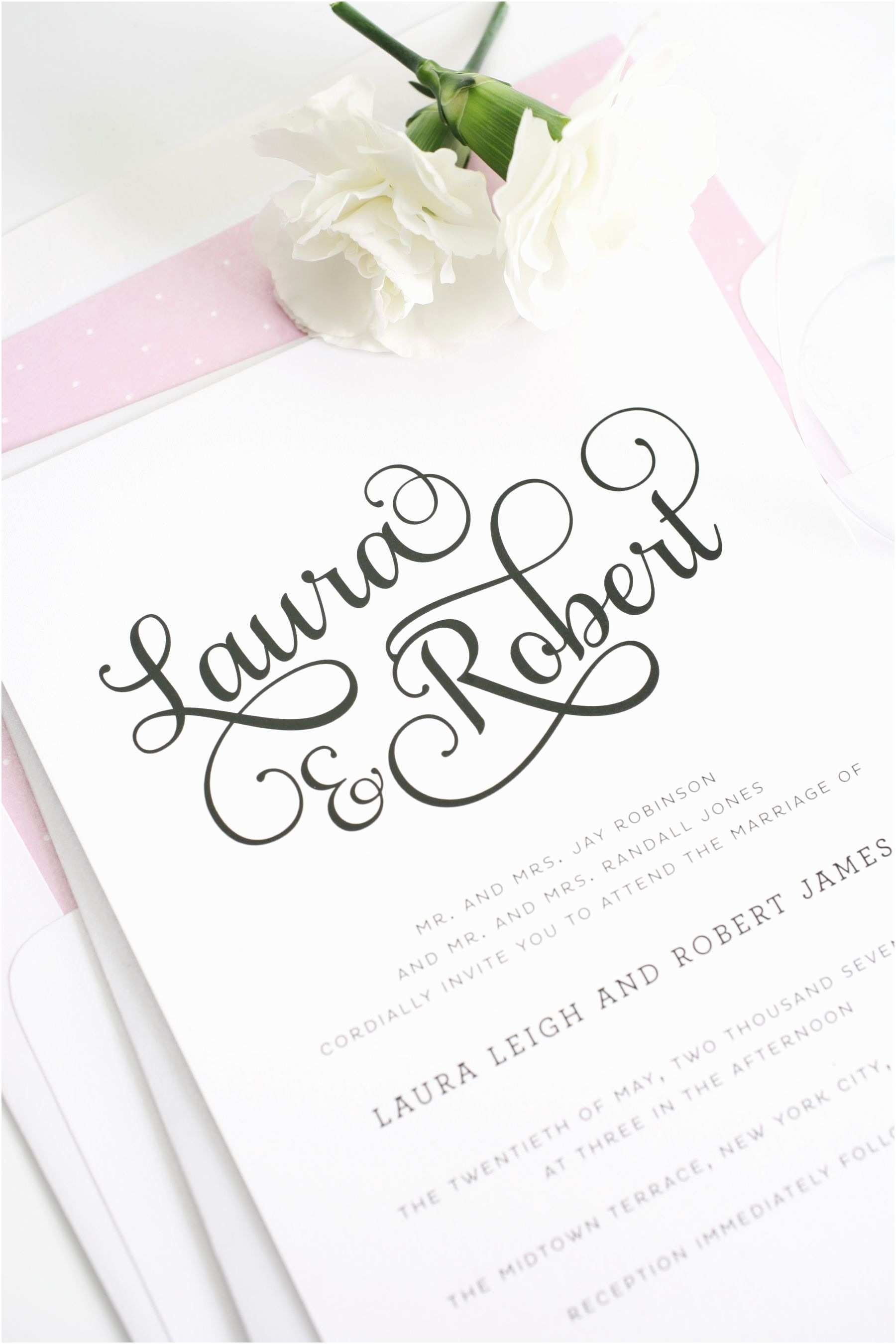 Large Wedding Invitations Sweet and Romantic Wedding Invitations with Script