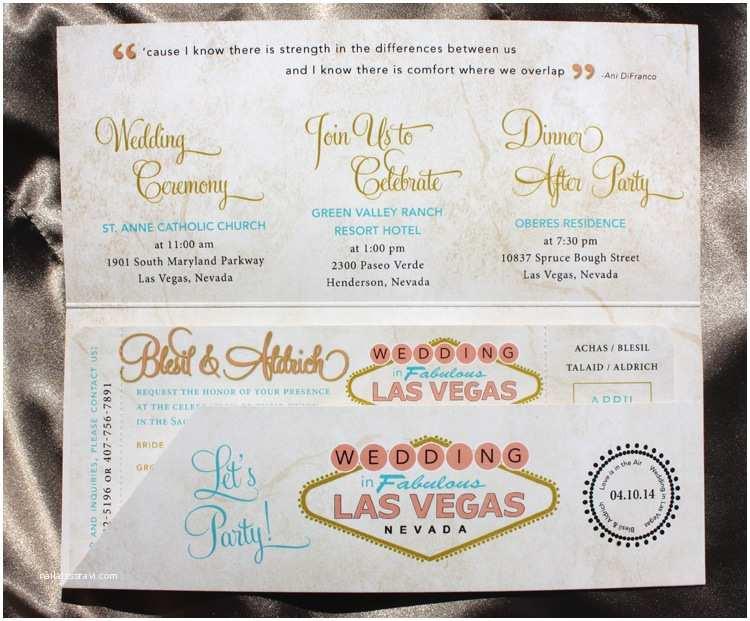 Las Vegas Wedding Invitations Gold Coral & Turquoise Las Vegas Antique Boarding Pass