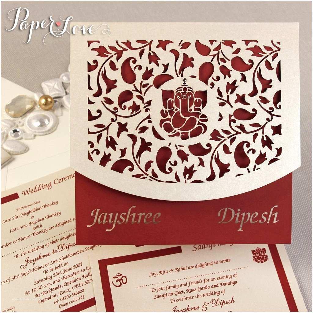 Laser Cut Indian Wedding Invitations asian Wedding Invitation Laser Cut Ganesha Cover