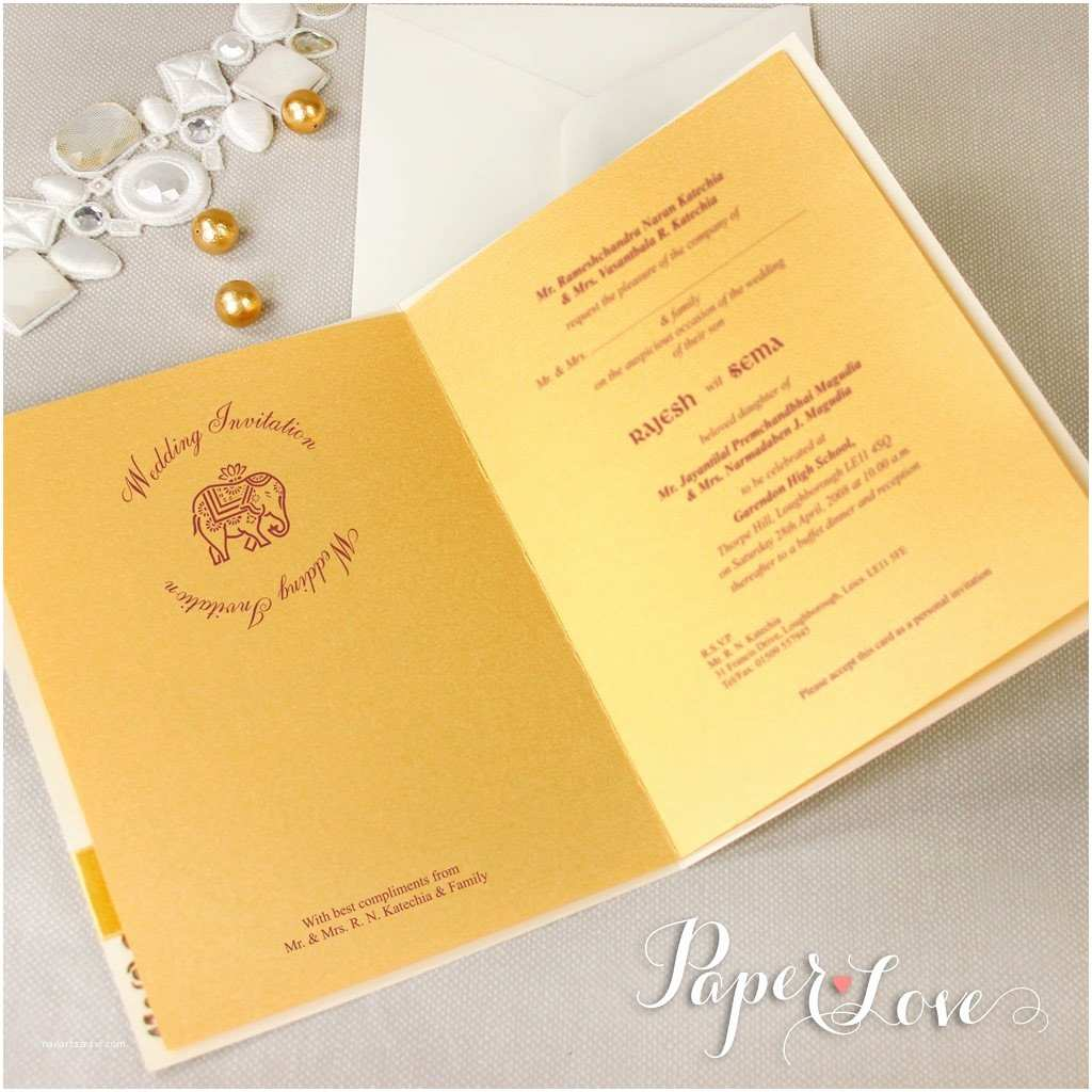 Laser Cut Indian Wedding Invitations Cream Metallic Elephant Laser Cut Indian Hindu asian