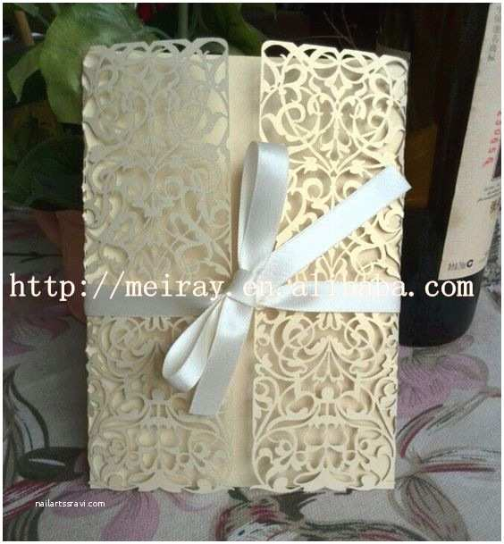 Laser Cut Indian Wedding Invitations Elegant Unique Wedding Invitation Cards Light Gold Pearl