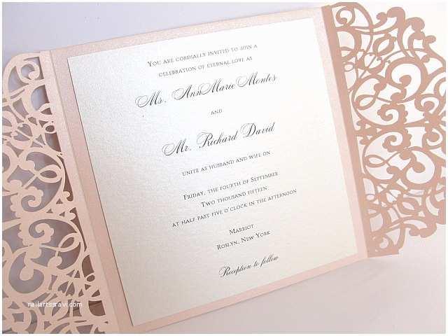 Laser Cut Lace Wedding Invitations Blush Pink Laser Cut Wedding Invitation