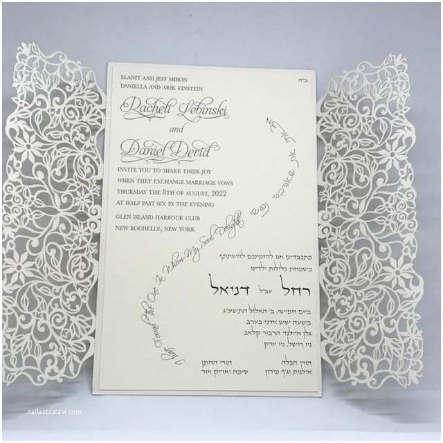 Laser Cut Lace Wedding Invitations Ivory Spring Vines Lace Laser Cut Gatefold and Ecru
