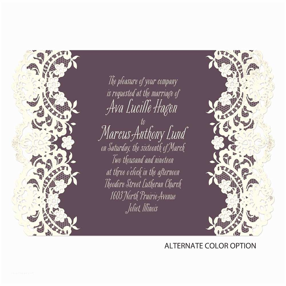 Laser Cut Lace Wedding Invitations Lace Embrace Laser Cut Invitation