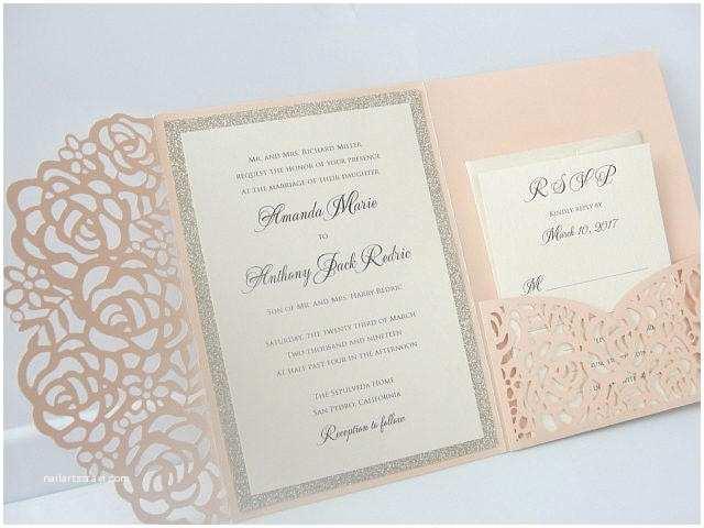 Laser Cut Lace Wedding Invitations Laser Pocketfold 1 Glitter Coral Blush