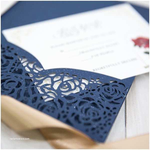 Laser Cut Pocket  Invitations Beauty And The Beast Navy Blue Laser Cut Pocket